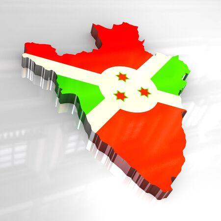 3d made - flag map of burundi photo
