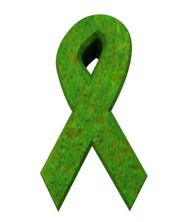 green issue: aids hiv symbol in grass (3d made)