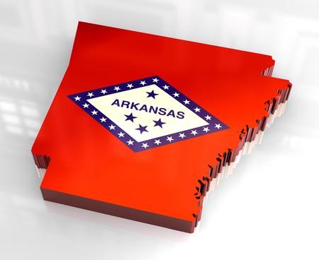 3d made - flag map of Arkansas