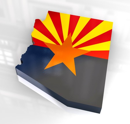 southwest: 3d made - Flag map og Arizona