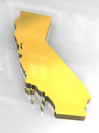 california flag: 3d made - Golden map og California