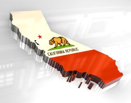 california flag: 3d made - Flag map og California