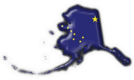 Alaska (USA State) button flag map shape - 3d made photo