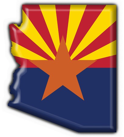 state of arizona: Arizona (USA State) button flag map shape - 3d made
