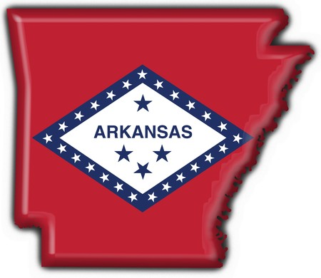 us state flag: Arkansas (USA State) button flag map shape - 3d made Stock Photo