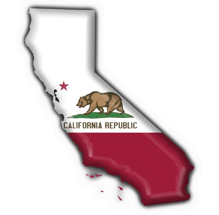 California (USA State) button flag map shape - 3d made Stock Photo