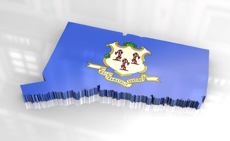 3d made - Flag map of Connecticut photo