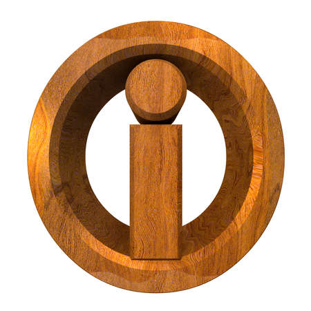info symbol in wood (3d)  photo