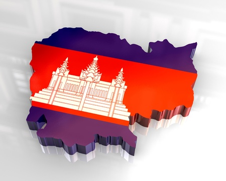 cambodia: 3d - flag map of cambodia