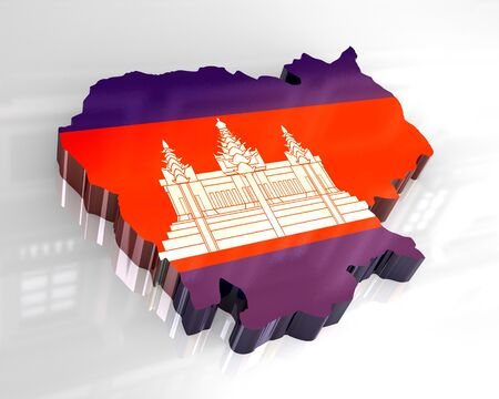3d - flag map of cambodia  photo