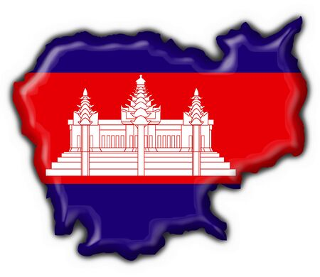 cambodia american button map flag  - 3d photo