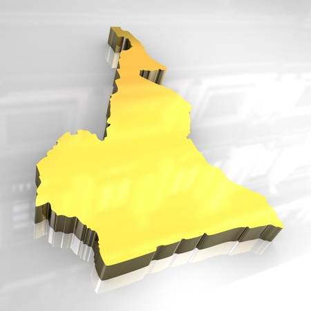 cameroonian: 3d - golden map of cameroon