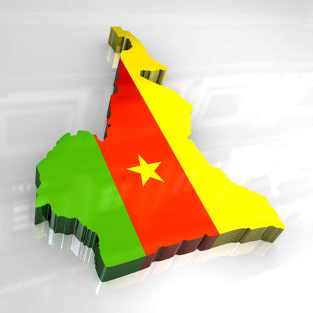 cameroon: 3d - flag map of cameroon