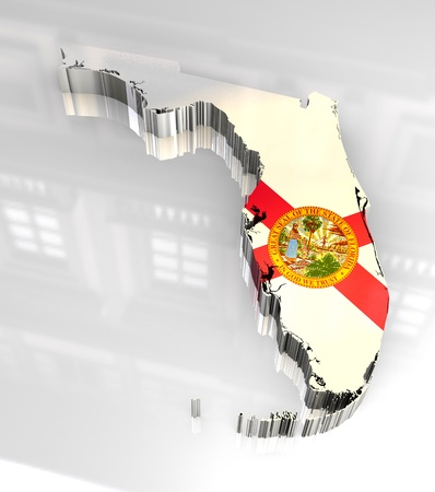 3d made Flag map of Florida  Stock Photo