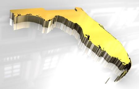 3D made goldenen Karte von Florida  Standard-Bild - 8630913