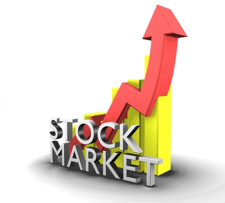 Statistics graphic with sales stock market  Stock Photo