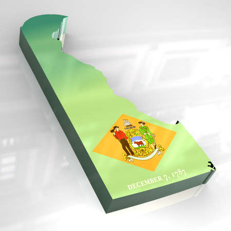 3d made flag map of Delaware photo