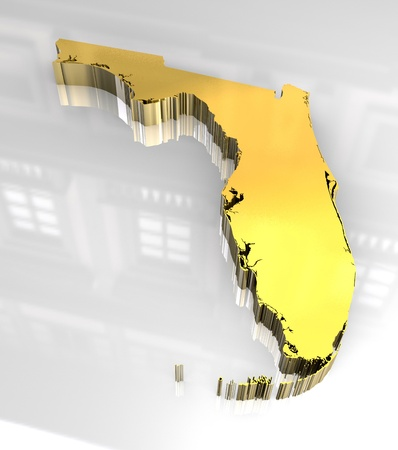 3d made golden map of Florida
