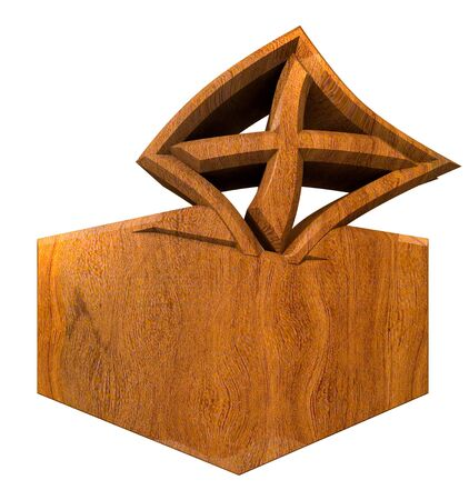 Symbol of placing a voting slip into a ballot box over a white background in wood  photo