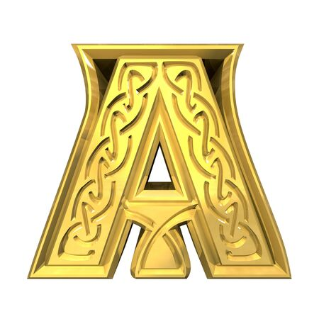 3d illustration of Celtic alphabet letter A illustration