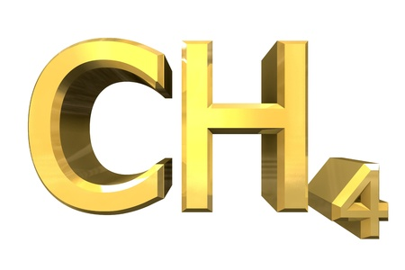 methane: 3d made - chemistry formulas in Gold of Methane  Stock Photo