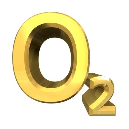 3D aus Chemie Formeln in Gold von Sauerstoff  Standard-Bild - 8955341