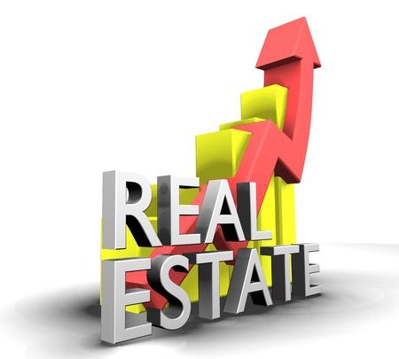 Gráfico de estadísticas con bienes raíces palabra - 3d hecho