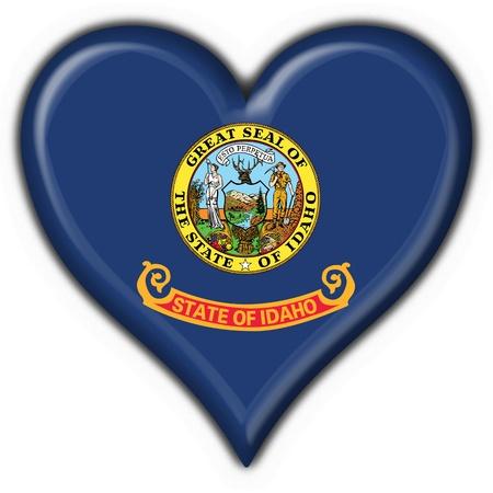Idaho (USA State) button flag heart shape - 3d made photo