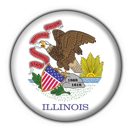 Illinois (USA State) button flag star shape - 3d made photo