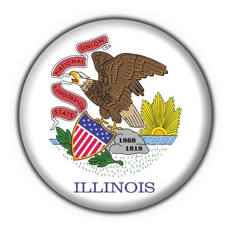 Illinois (USA State) button flag star shape - 3d made photo