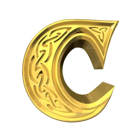 3d made - illustration of Celtic alphabet letter B  illustration