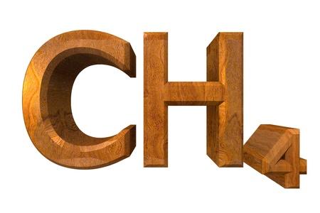 methane: 3d made - chemistry formulas in wood of Methane