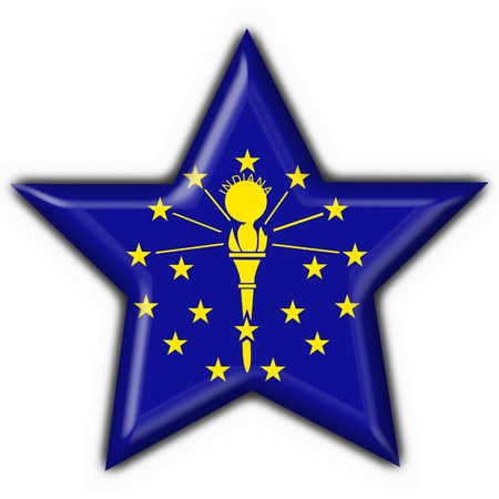 Indiana (USA State) button flag star shape - 3d made photo