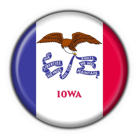 Iowa (USA State) button flag round shape - 3d made photo
