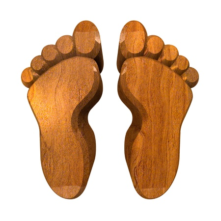 commit: 3d made - foot prints in wood Stock Photo