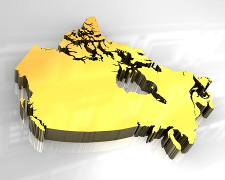 3d made - golden map of canada  photo