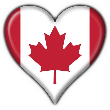 canada american button heart flag - 3d made photo