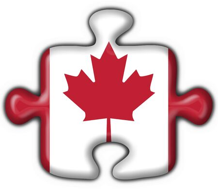 canada american button flag puzzle shape - 3d made photo