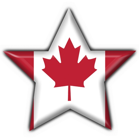 canada button flag star shape - 3d made photo