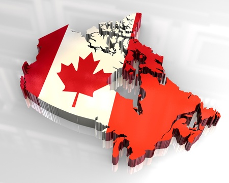 3d made - flag map of canada  photo