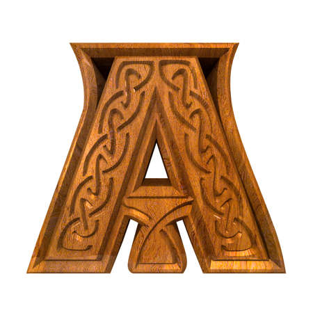 3d made - illustration of Celtic alphabet letter A  illustration
