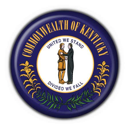 Kentucky (USA State) button flag round shape - 3d made  photo