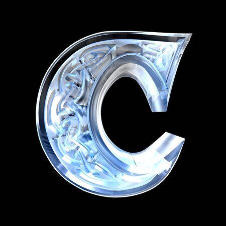 3d made - illustration of Celtic alphabet letter C illustration