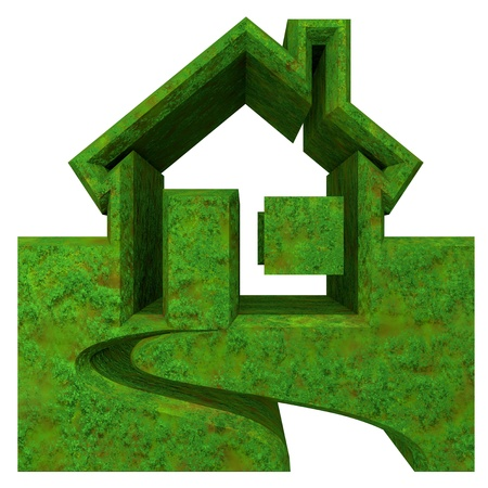 House Icon in grass - 3d made  Stock Photo