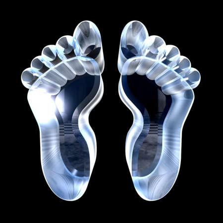 biometrics: 3d made - foot prints in glass  Stock Photo