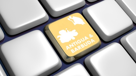 Keyboard (detail) with Antigua & Barbuda map key - 3d made Stock Photo - 9315038