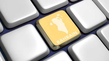 bahrain: Keyboard (detail) with Bahrain map key - 3d made  Stock Photo