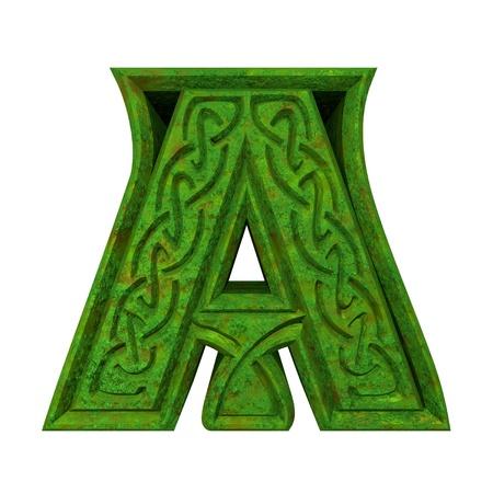 3d made - illustration of Celtic alphabet letter A - illustration