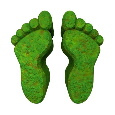 green footprint: 3d made - foot prints in green grass -