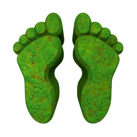 thumb print: 3d made - foot prints in green grass -